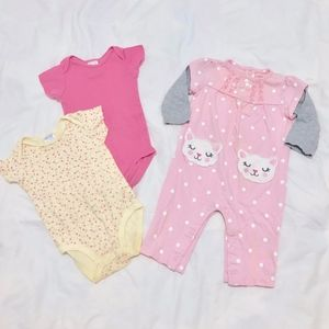 Lot 3 Carter's One-Piece Suits Baby Girl 6M Months